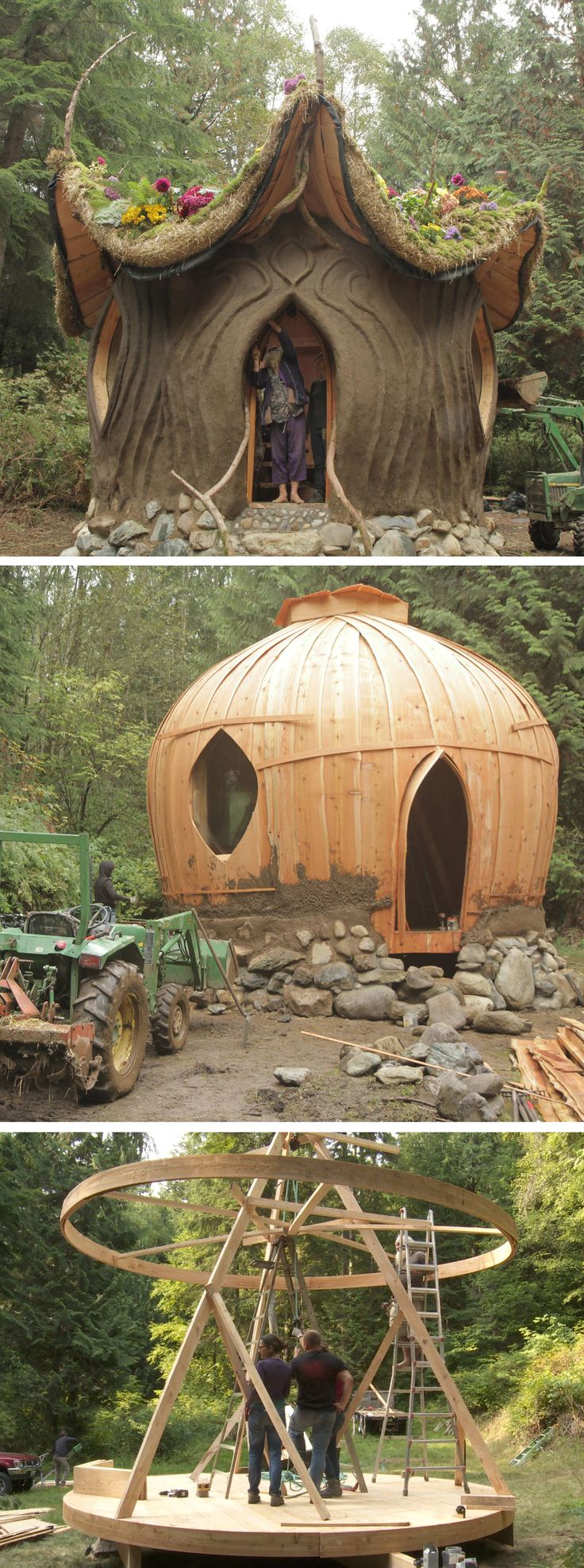 "Matteo Lundgren and Carolyn ""Peaches"" Lyon of Ithaca, NY, build a mud & cob house designed by renowned natural builder and eclectic architect, SunRay Kelley."