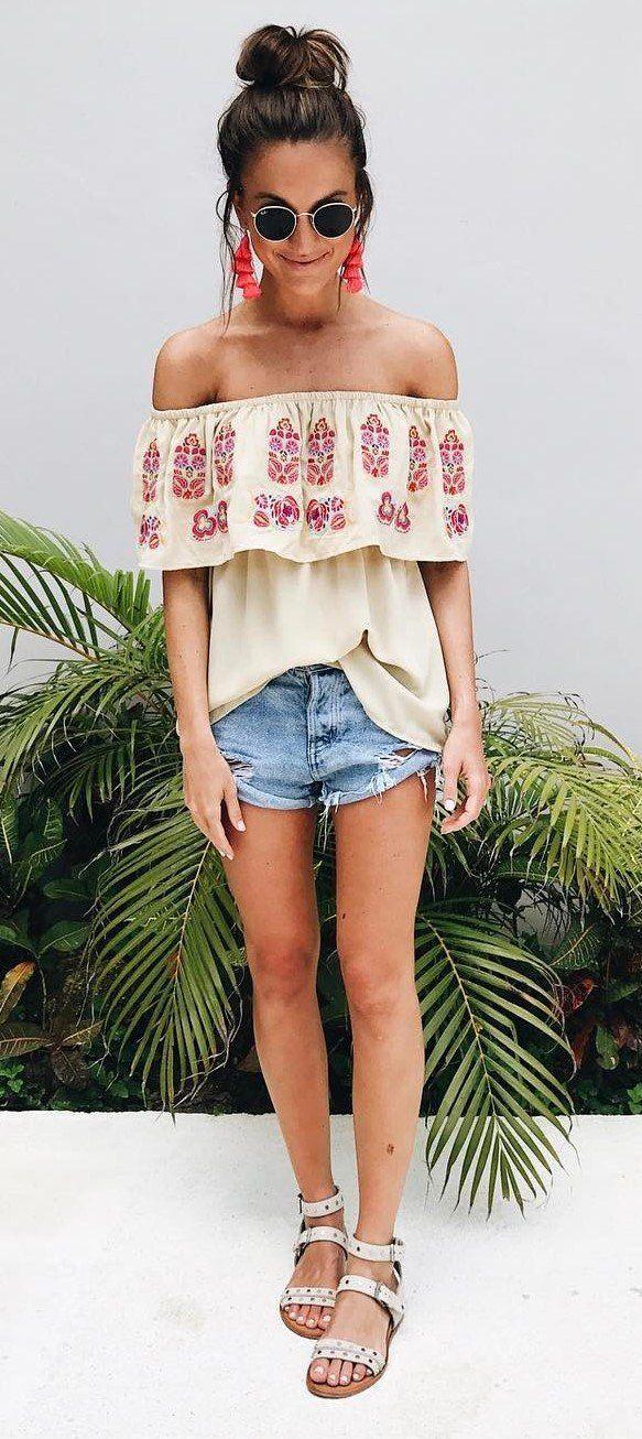 summer fashion trends - off shoulder top   denim shorts