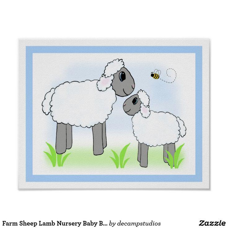 Farm Barnyard Sheep Lamb Nursery Baby Boy Neutral Wall Art Print #sheepnursery #lambnursery #farmnursery #barnyardnursery #boynursery #neutralnursery