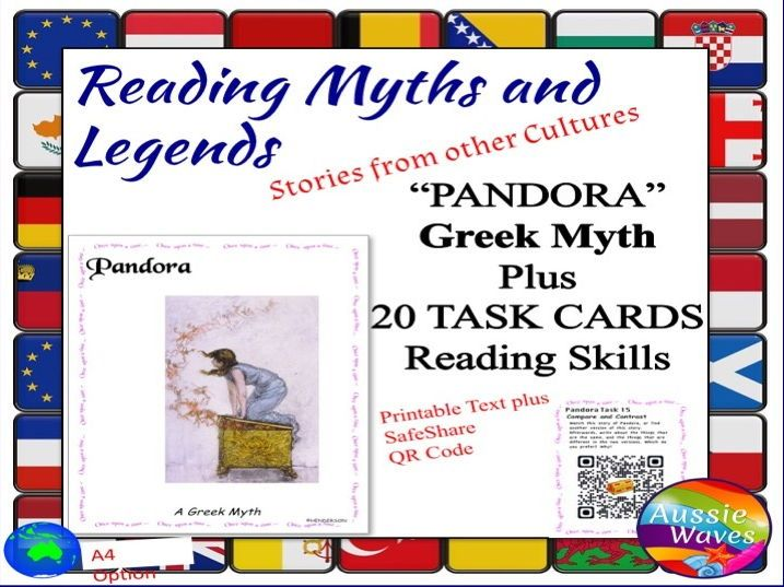 Myth Legend Greek PANDORA'S BOX Text & Task Cards Connections & Close Questions