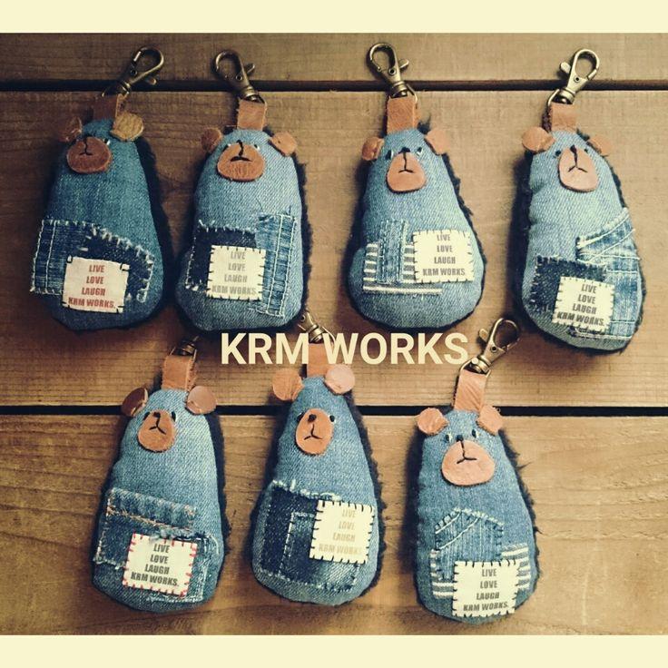 デニムくまのキーホルダー作りました | KRM WORKS.の手作り日記