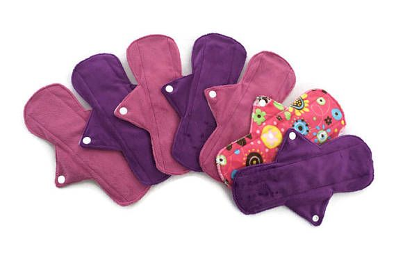 7 Soft  9 1/2 Minky Pads Set/Reusable Cloth Pads/