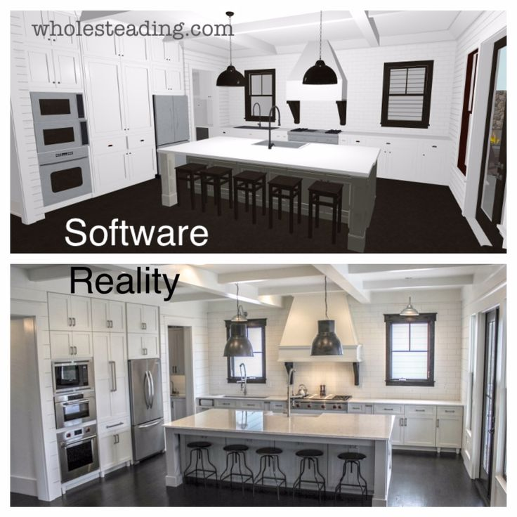 Picture showing Bethany's kitchen design in Chief Architect's Home Design software and then the final real life kitchen - its AMAZING how similar they look!
