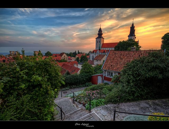 View of St. Maria's in Visby, seen from the Finn stairs. Not so many tourists find their way there, so it is a quiet spot.