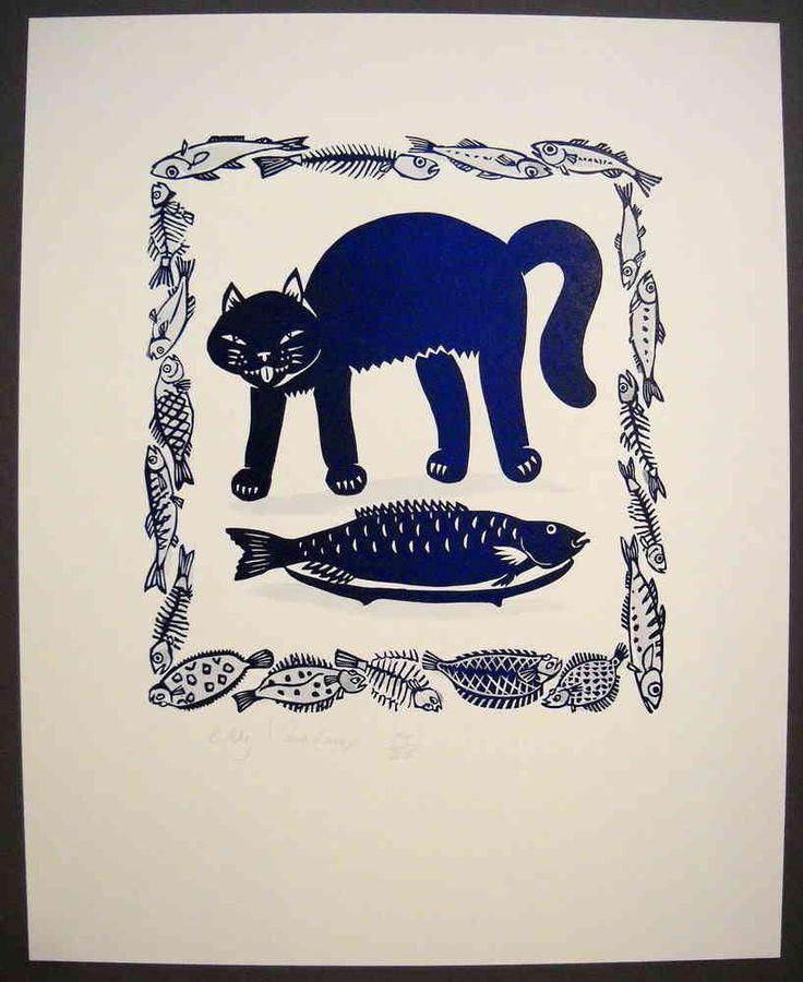 Linocut, Cat with fish