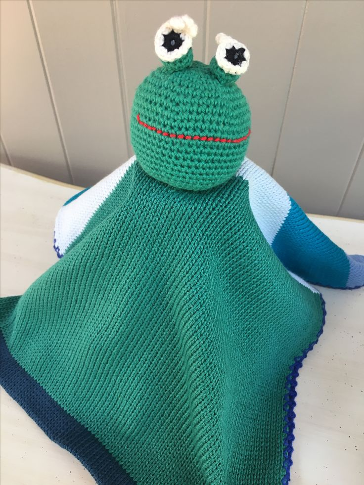 Green Frog Lovey 1005 COTTON knit and crochet...machine washable www.thebabyblanketlady.com
