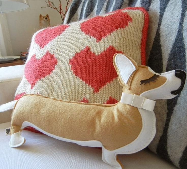 Jer Jer the Royal Welsh Corgi Dog.  Wool Felt Applique Plush Corgi. via Etsy. So cute!