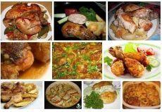 Вкусная курочка на каждый день  1.Куриные голени в сметане с картошкой 2.Куриные ножки с медом 3.Куриные шейки, окорочка фаршированные 4.Курица с картошкой в рукаве 5.Курица с чесноком в соусе 6.Цыпленок табака (тапака) 7.Куриное филе Зебра 8.Курица со сливочно-укропным соусом 9.Курица, запеченная целиком в медово - горчичном маринаде 1.Куриные голени в сметане с картошкой Ингредиенты: 500 гр картофеля 10 куриных голеней 200 гр сметаны Приправы (я брала паприку, приправу д...