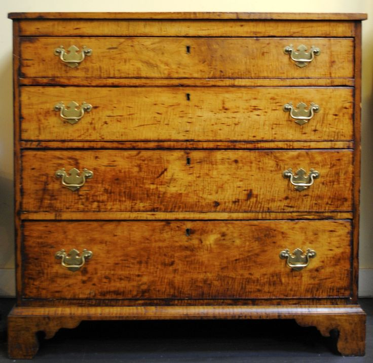 Early American 4 Drawer Tiger Maple Chest   Leonards Antiques