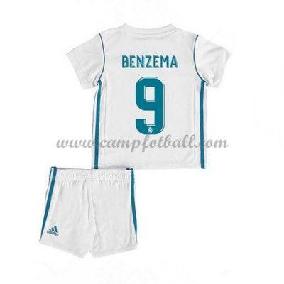 Fotballdrakter Barn Real Madrid 2017-18 Karim Benzema 9 Hjemme Draktsett