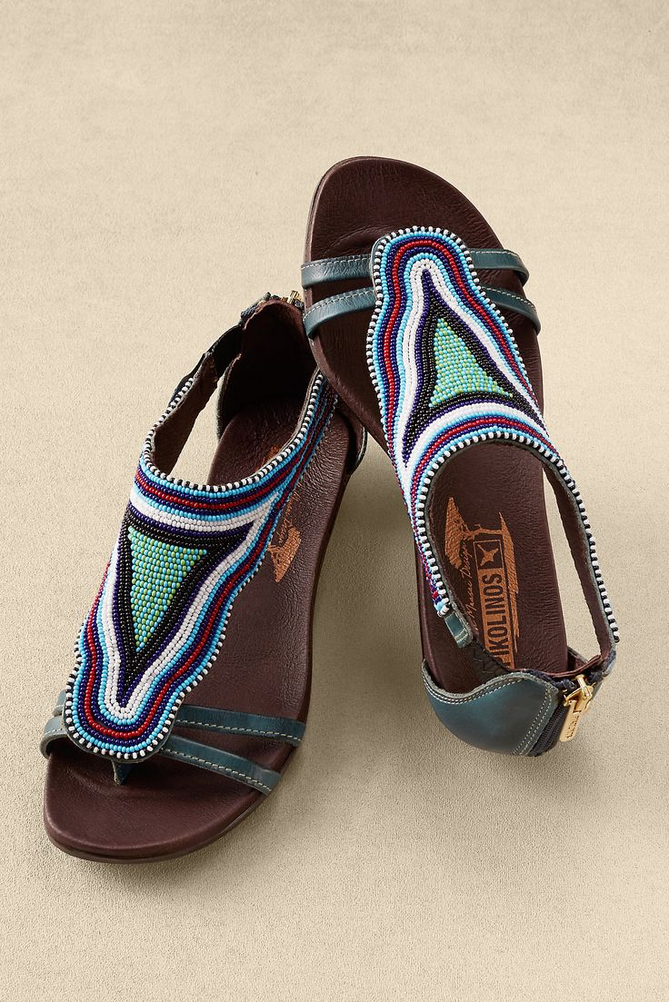 With striking hand-beading designed and sewn by Maasai tribeswomen in Kenya, Pikolinos Alcudia European-made sandals help sustain families and traditional African arts.