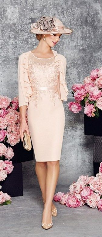 This Classic Round Collar Light Pink Mid-Long Bridal Mother of the Bride Dress is fitted and has astonishing detailing throughout. An absolutely stunning embellished dress and matching jacket in Blush/Ivory. You'll get a superb matching frock coat made from chiffon with mid-length sleeves with this mother of the groom dress (or bridesmaids dress, prom dress). || More at http://www.cutedresses.co/product/round-collar-light-pink-mother-bride-dress/