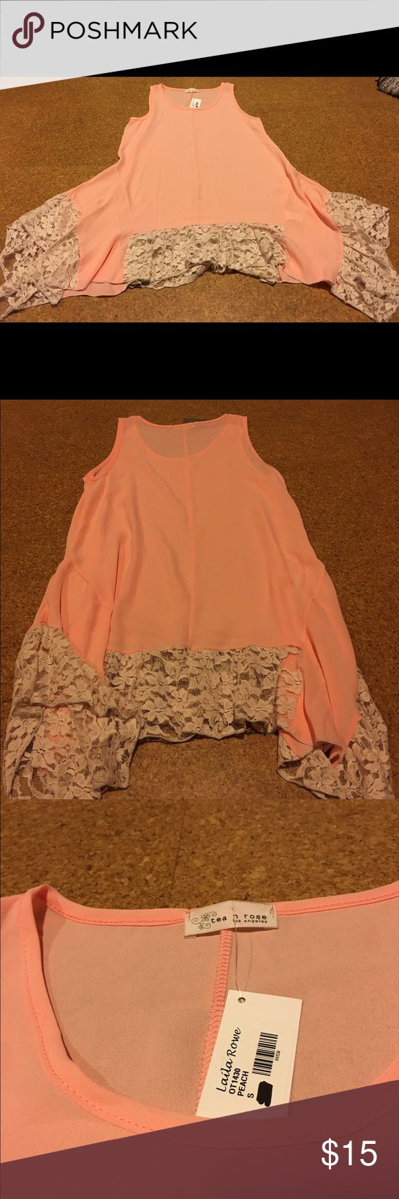 Pretty peach Lacey top Beautiful Lacey detail, peach top, nice fit tea n rose los angeles Tops Blouses