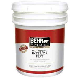 Behr premium plus 5 gal ultra pure white zero voc flat - Flat or satin paint for bathroom ...