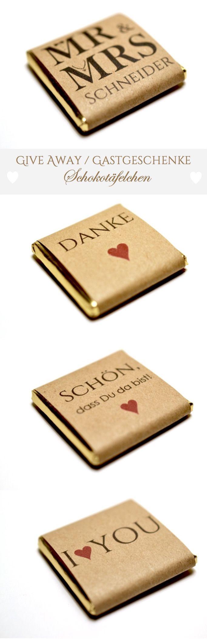 Gastgeschenke / Give Aways - zur Hochzeit - Schokoladentäfelchen 5g - 3 Sorten zur Wahl - Zartbitter - Vollmilch oder weiße Schokolade