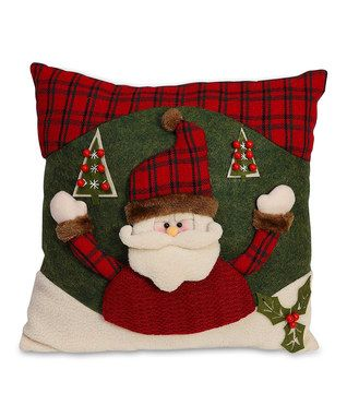 Red & Green Santa Throw Pillow