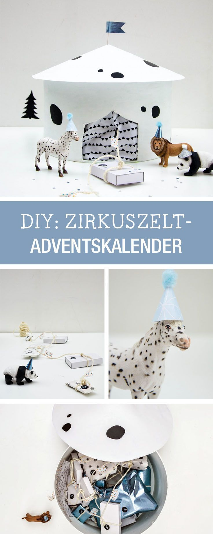 Adventskalender in Form eines Zirkuszelt für Kinder basteln / circus advents calendar for kids via http://DaWanda.com