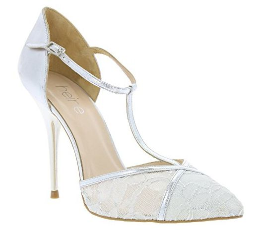 heine White Bride Schuhe Damen Echtleder-Pumps Abendschuhe Silber 109910, Größenauswahl:41 - Damen pumps (*Partner-Link)