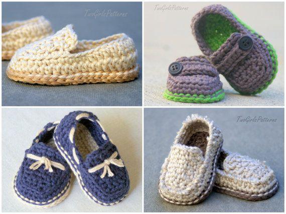 Crochet Patrón bebé niño Lil' mocasines por TwoGirlsPatterns