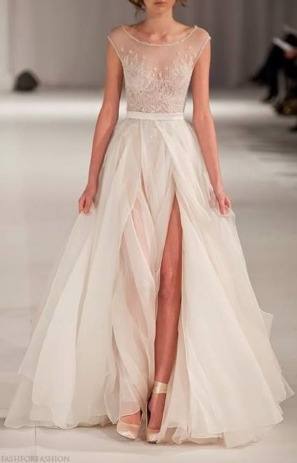 Notwithstanding the slit, which would be fine on an evening gown, NOT a Wedding Gown, but w/out the slit, I Love this fabric! paolo sebastian swan lake dres $7250