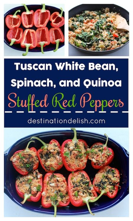 Tuscan White Bean, Spinach, and Quinoa Stuffed Bell Peppers (Vegan, Gluten Free)