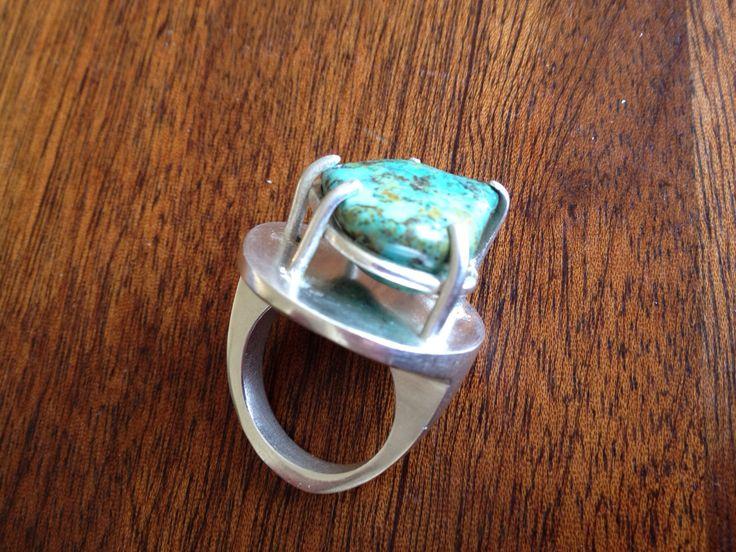 Gegoten zilveren ring met steen die mijn oma ooit heeft gevonden in de VS/Mexico....