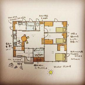 2017.03.15.Wed. . 私だけの小さな家 . 今回は小さくても子ども部屋が2部屋あって、でも大きくなったら壁をとれるように、玄関→シューズクローク→パントリーがよくて、サンルームが欲しい . という、ご要望から書きました . シューズクロークには靴の棚とコートやカバン、部活道具も置けるようにしました。買い物してきたものはシューズクローク→パントリーからヒョイと。扉は通用口的な感じで他より幅が狭めのものにして、収納重視にしています。 . キッチンから洗面洗濯室へも3歩で行けて、洗面洗濯室のカウンターにはコンセントなど配しアイロンなどもかけれるように。もちろん天井には物干しパイプも2本セット。 . トイレ前の廊下には掃除機やクイックルワイパーなどのお掃除用品を収納したりルンバ基地にも。 . 南に面したサンルームは引き戸を開けっぱなしでリビングの延長としてつかうことを想定。もちろん洗濯物もたっぷり干せます!今なら多肉植物や観葉植物などグリーンを並べるのもいいな . 住みたくなるなる(笑)25坪の平屋です。 . . #私だけの小さな家#間取り#平屋#平屋暮らし#25坪...
