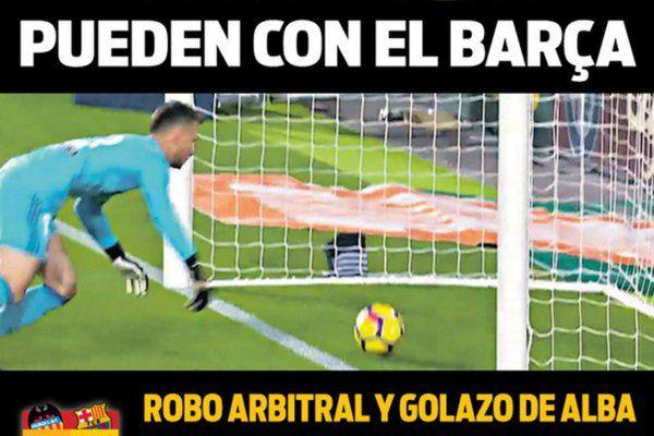 Au lendemain du match nul entre le FC Valence et le FC Barcelone, dimanche soir à Mestalla (1-1), la presse catalane revient avec férocité sur l'erreur d'arbitrage qui a coûté un but à Lionel Messi et ses partenaires.