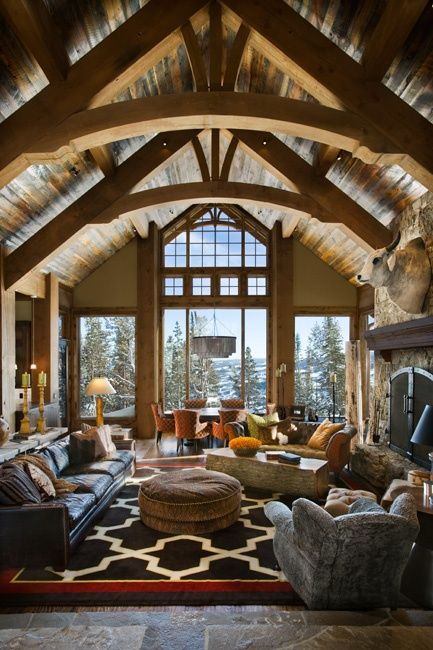 Great Room - big windows, high ceilings and lots of natural materials for rustic look.