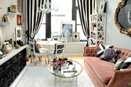CuteDecor, Ideas, Curtains, Living Rooms, Small Living Room, Living Room Design, Black And White, Livingroom, Small Spaces