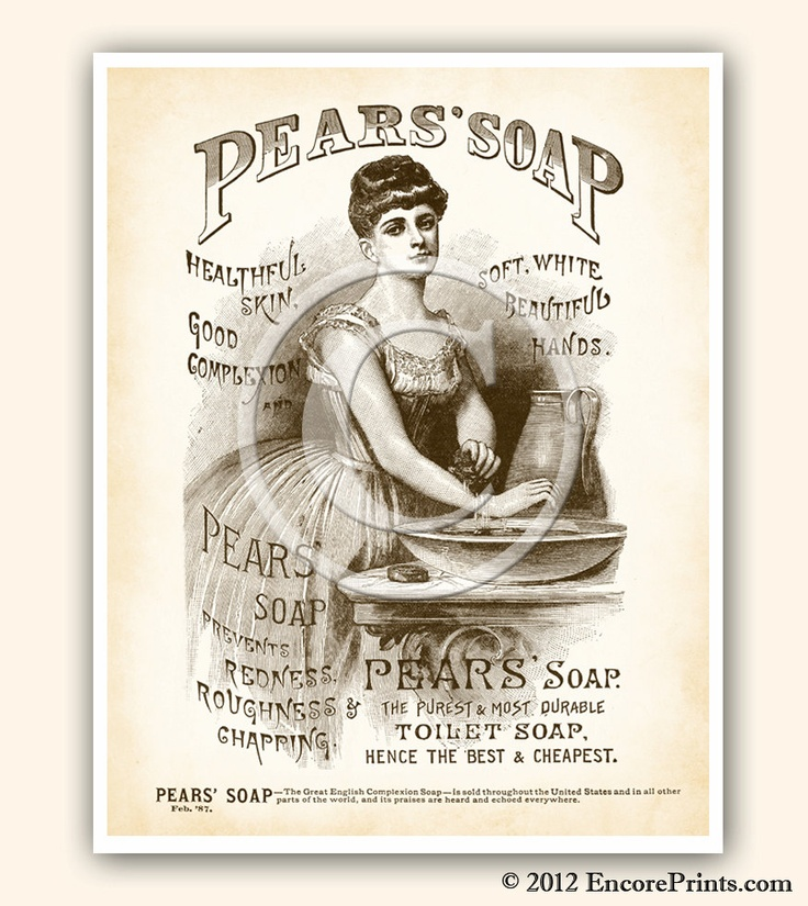 Vintage bathroom decor pears soap ad vintage art print for Bathroom decor etsy