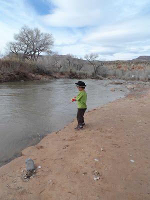 Tytus fishing with no hook at Zion River Resort in Virgin Utah, Zion River Resort The Lemonade Digest Blog