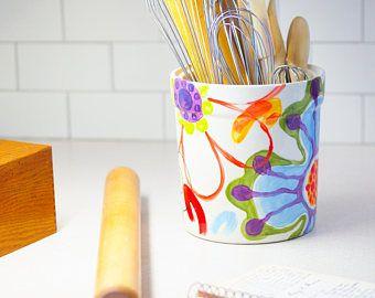 Utensilio titular cocina utensilio porta utensilio de cerámica titular cerámica utensilio titular Extra grande cerámica Whimsical colorido regalo para Baker J