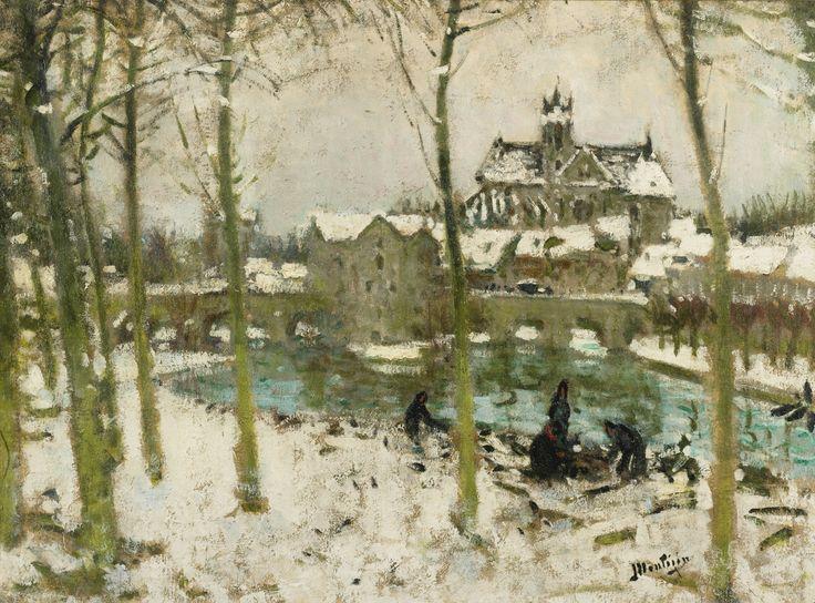 Pierre-Eugène Montézin (1874-1946), MORET-SUR-LOING SOUS LA NEIGE, Oil on canvas, 61x81 cm