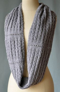 Free Knitting Pattern for Ellery Reversible Cowl Infinite Scarf - Faux cables add texture to this fully reversible infinite scarf. Designed by Universal Yarn Design Team