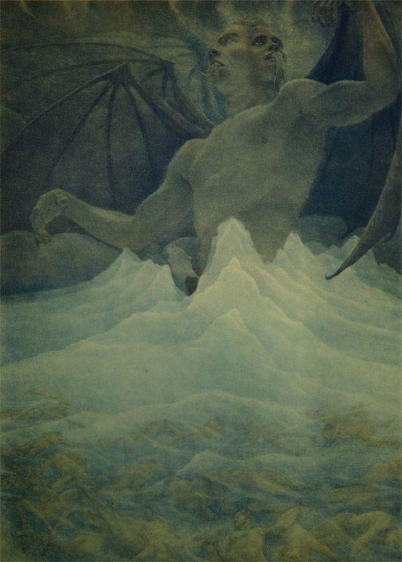 Amos Nattini - Satan resides at the centre of the frozen lake of Cocytus 1923