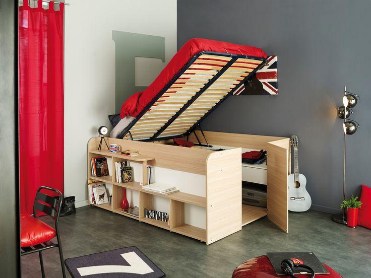 Lit Coffre en Bois 140x200 Tiago | Lit idéal pour les petites chambres : composé d'un sommier à lattes relevable, un large coffre de rangement en dessous du sommier, nombreux espaces de rangement #LitCoffre #LitEnfant #LitAdo