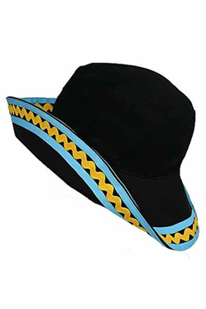 Black Bucket Hat With Blue & Yellow Trim