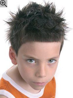 Short haircut for little boys. A cut with interior layering, texture and fun spiky styling.