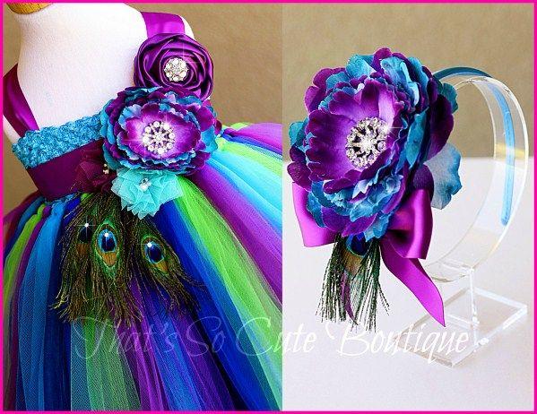 peacock dresses for little girls | Peacock Tutu Dress, Peacock Flower Girl Dress, Turquoise Purple Tutu ...