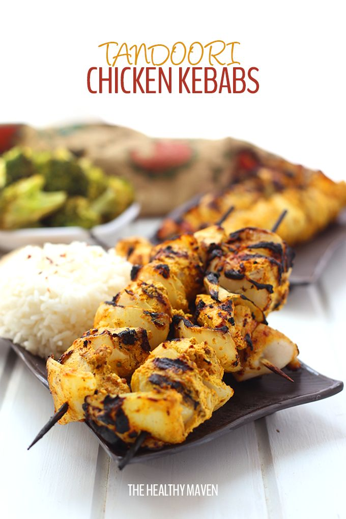 These Tandoori Chicken Kebabs are packed full of flavour but lightened-up with greek yogurt and a zesty spice blend. They're super easy to make with the only challenge being the wait while they marinate! Perfect for a weeknight dinner or weekend BBQ recipe.