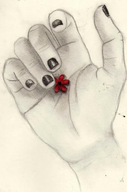 Karakalem çalışmaları çiçek Kolay Kara Kalem
