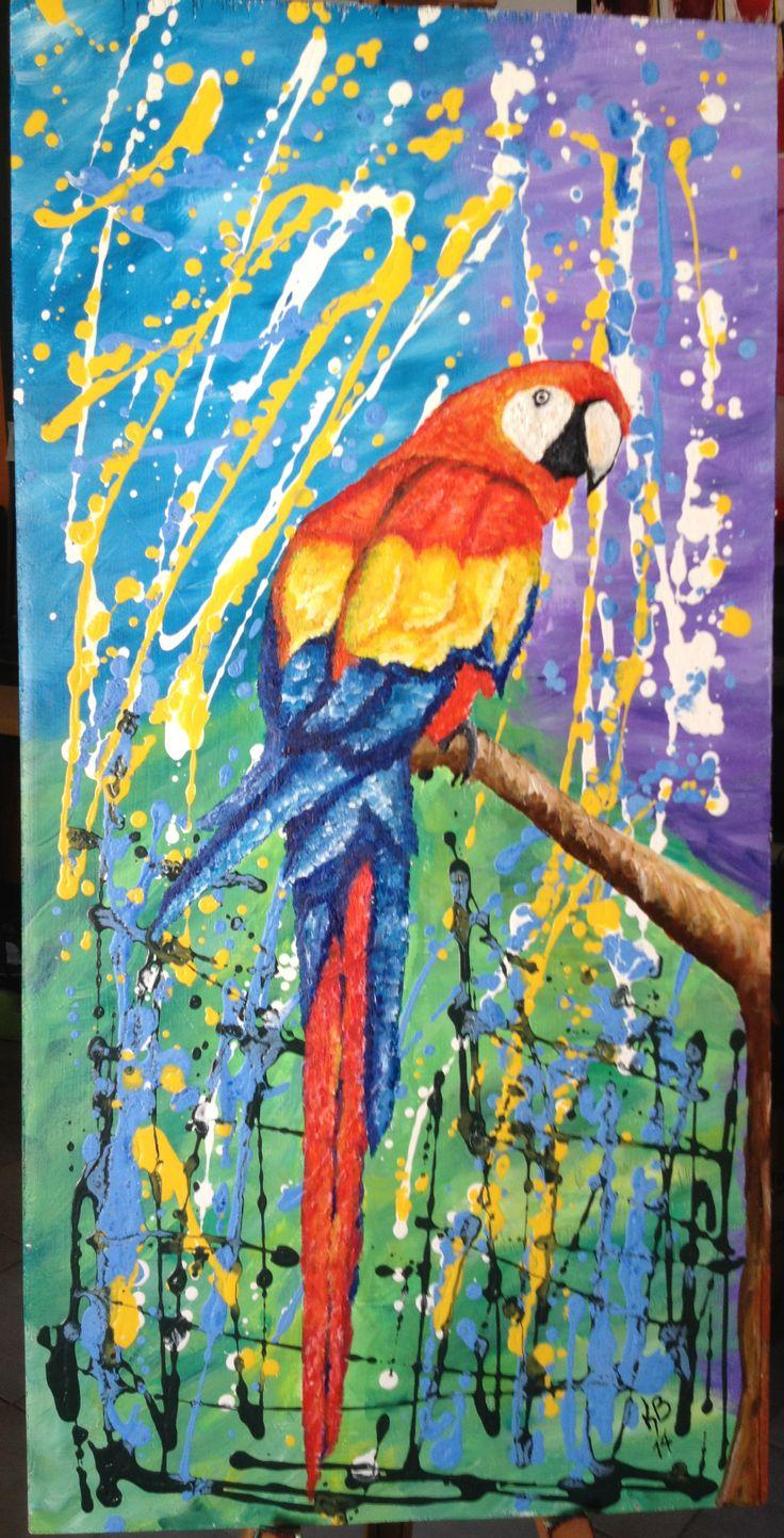 Titulo : La Guacamaya Autor: Karina Burgos Tenica: Acrilico y pintura al frio sobre madera dimensiones . 80x40cm espero les guste...