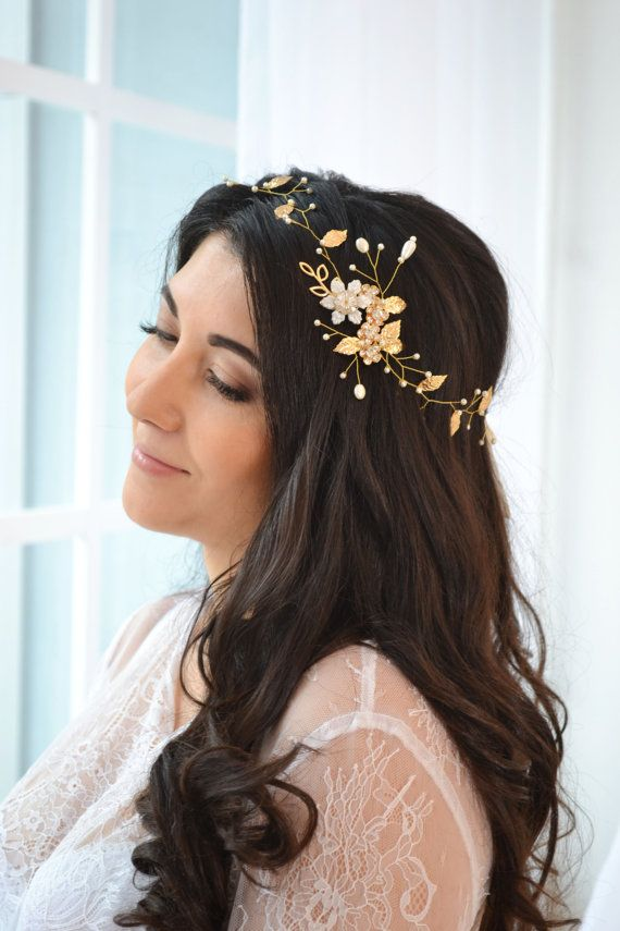 Gold pearl hair vine gold leaves vine hair ivory bridal halo