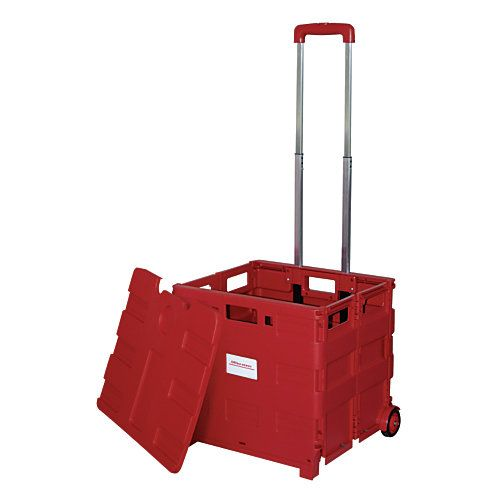 Office Depot Brand Mobile Folding Cart With Lid 16 x 18 x 15  Red by Office Depot & OfficeMax