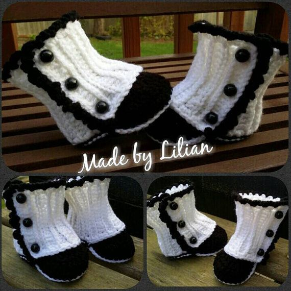 Wrap boots https://www.etsy.com/listing/229987239/crochet-baby-girl-wrap-boots-black-white