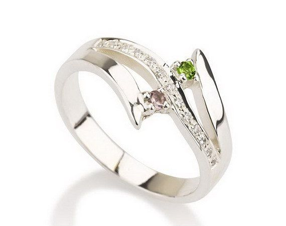 Promise Ring, Couples Birthstone Ring Sterling Silver ...
