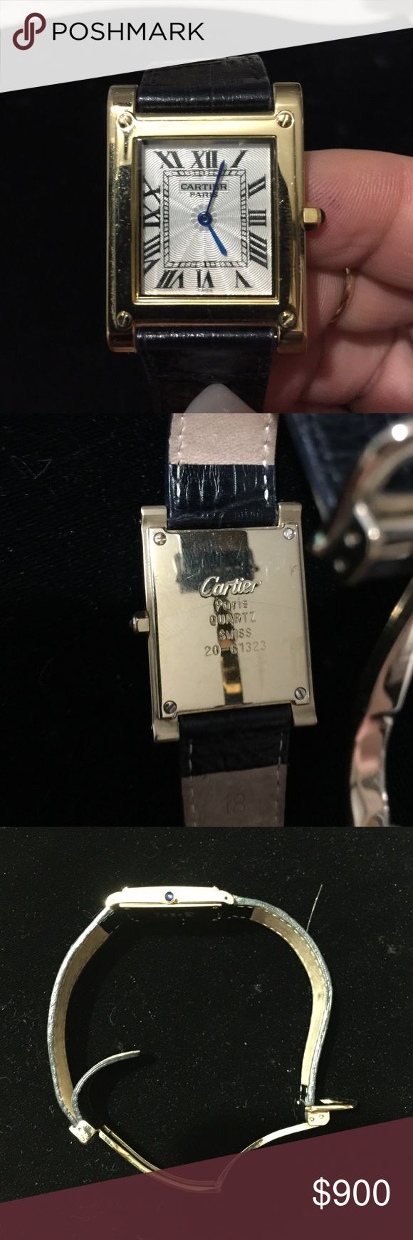 Vintage Cartier Watch Vintage Cartier watch from Paris. Clasp does not work that well - Please look at pictures carefully. Has blue hour and minute hands and blue on the stem. Cleaning out closet - pricing everything to to sell!! Cartier Accessories Watches