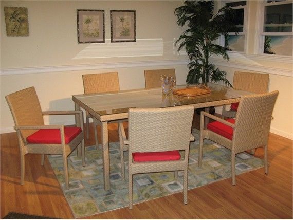 Outdoor Wicker Dining Set Of 7 Taupe Finish Sale Closeout