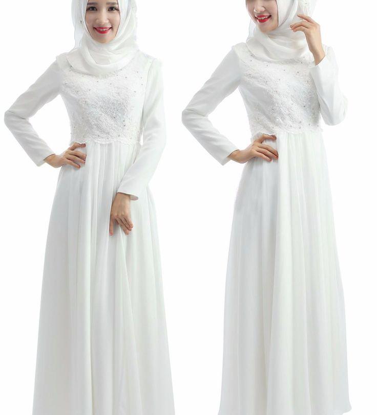 Find A Simple Beaded Lace Chiffon Muslin Wedding Dress Bow Empire Long Sleeve Muslim